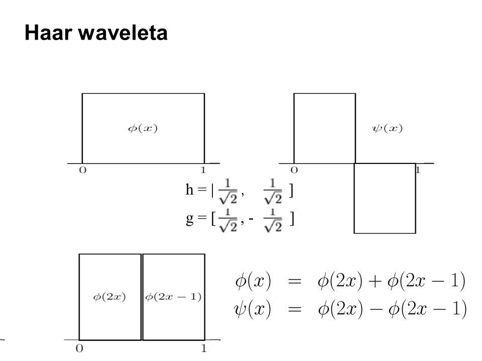 Haar waveleta g = [ , - ] h = [ , ]